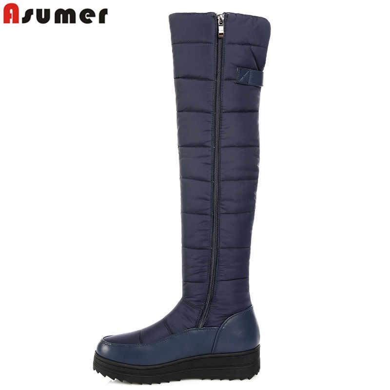 ASUMER 2019 yeni yüksek kalite aşağı sıcak kar botları kadın yuvarlak ayak platformu uyluk yüksek çizmeler bayanlar fermuar üzerinde diz çizmeler