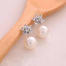 Hot 1 Pair Women Girl Elegant Charming Crystal Rhinestone Pearl Earrings Jewelry Ear Stud Gift pair of charming solid color 1 shape earrings for women