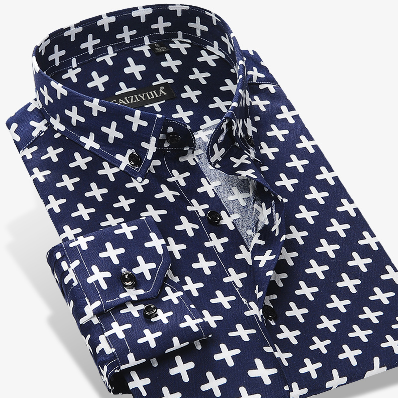 Men's Casual Criss-cross Printing Pattern Dress Shirt Long Sleeve Standard-fit Comfortable Cotton Button Down Shirts