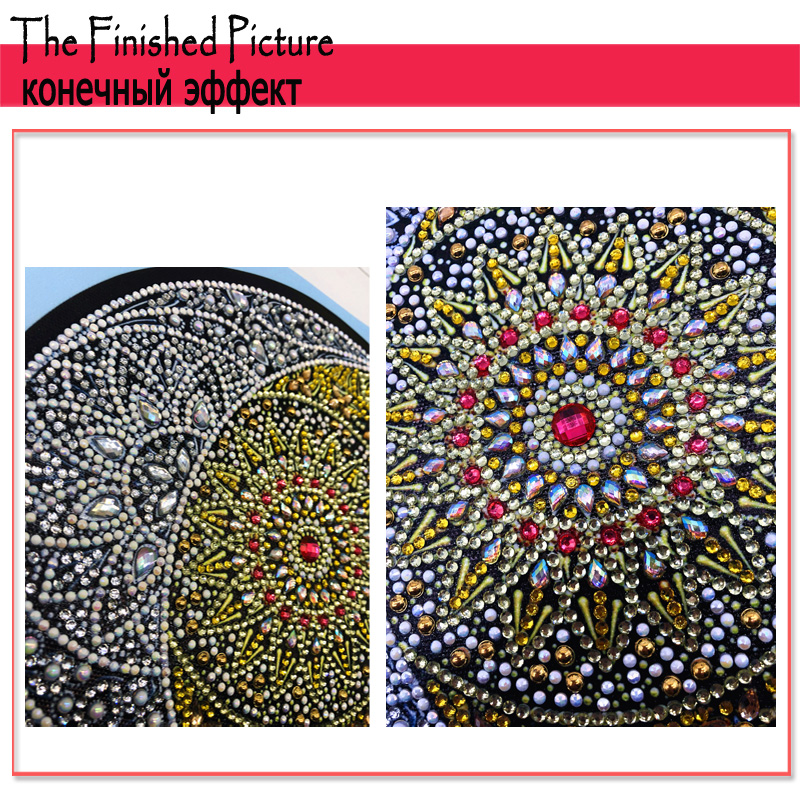 RUBOS DIY 5D Diamond Embroidery Mandala Sun Triptych Diamond Painting Multi Picture Rhinestones Pearl Big Mosaic Sale Wall Decor (9)