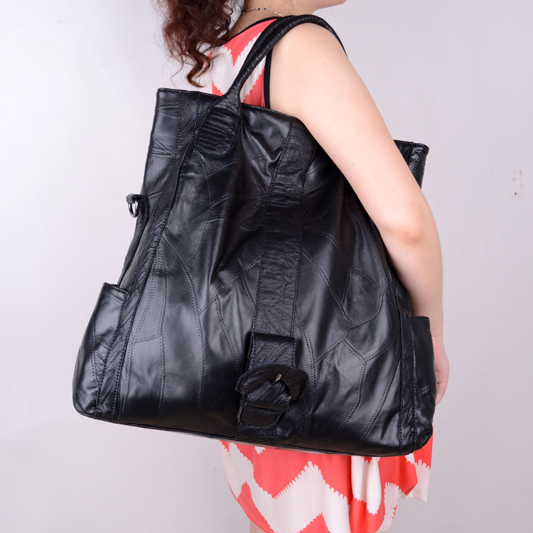 sheepskin bag fashion all-match patchwork genuine leather big bag one shoulder cross-body 100% women messenger bags carhartt cross body carry all