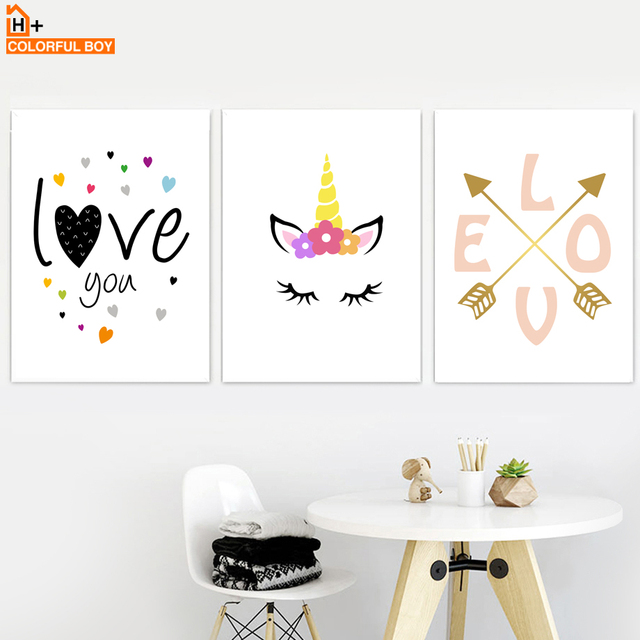 Unicorn Eyelash Arrow Love Quotes Canvas Painting Wall Art Nordic