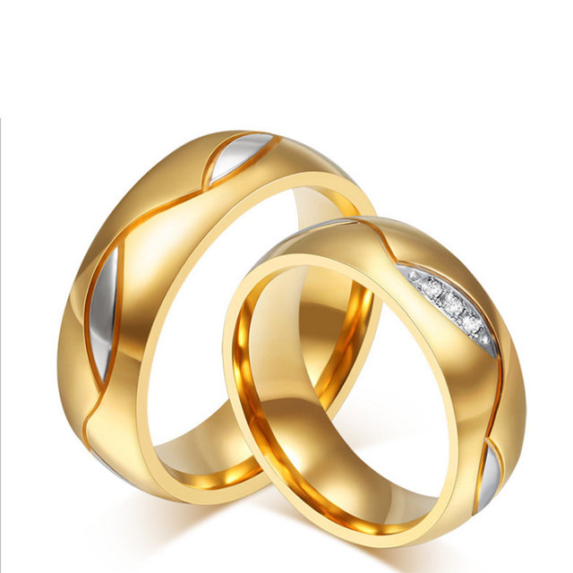 line Shop Stainless Steel Couples Rings for Men Women Gold