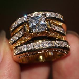 Image 4 - Vecalon Fashion 3 in 1 Women ring Princess cut 7mm AAAAA Zircon cz Yellow Gold 925 Sterling Silver wedding Band ring Set