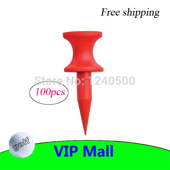 Free Shipping Brand New 100Pcs/Pack Double-deck Golf Tee Golf Ball Tees 30MM - Red