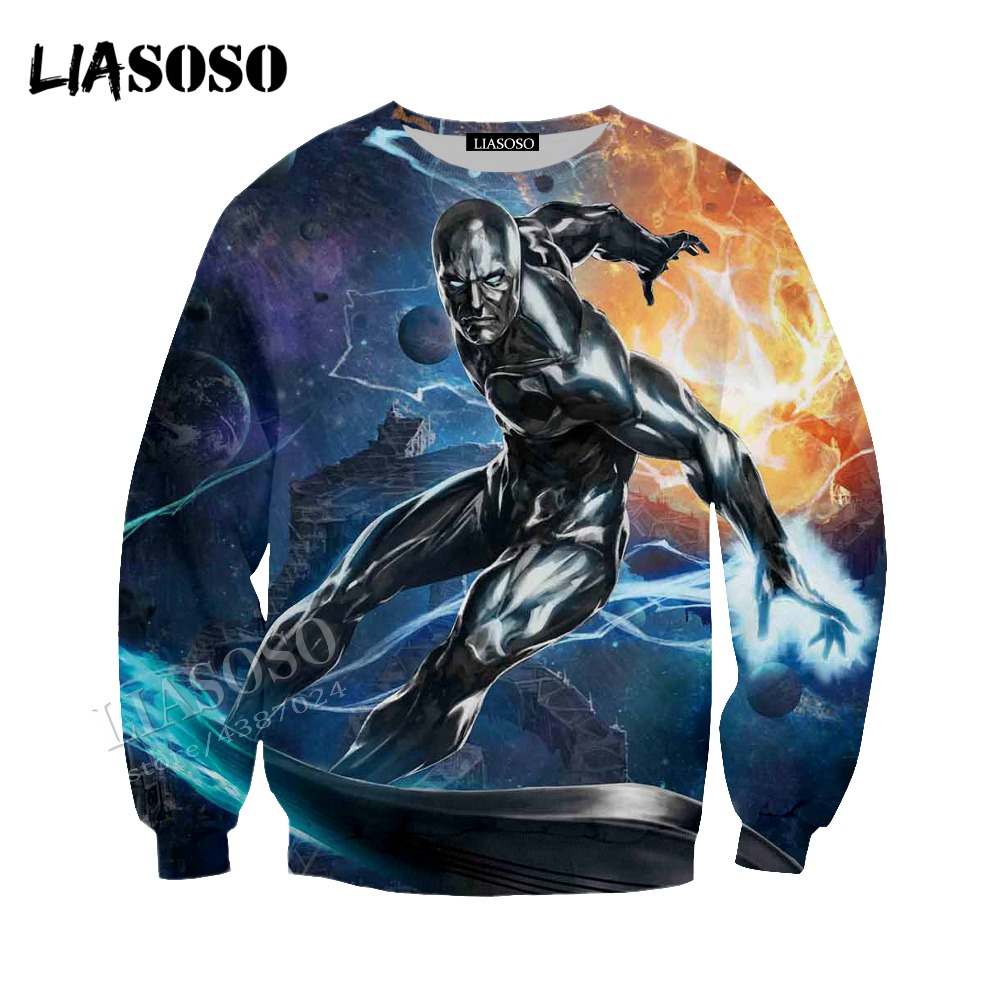 LIASOSO latest 3D printing Marvel comics movie print silver surfers Hoodie men and women sweatshirt series CX162