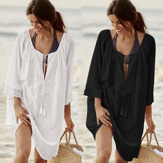 9fe80ff0289e Black White Blue Lace Crochet Beach Tunic Dress Summer Women Kaftan Beach  Sarongs Bathing Suit Swimsuit Swimwear Beach Dresses