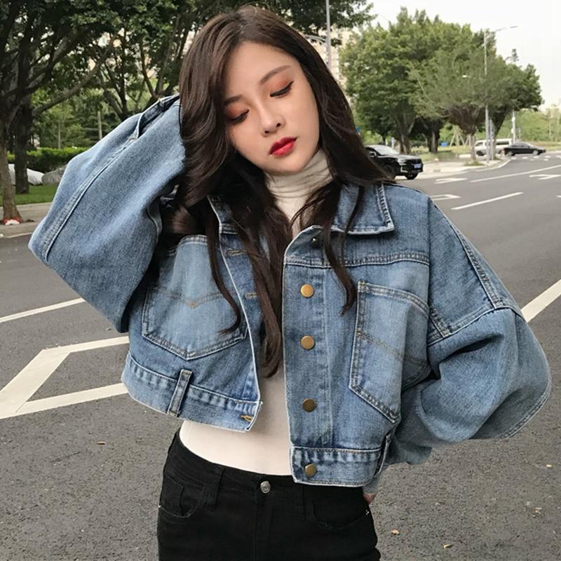 boyfriend jean jacket women oversized crop denim jackets