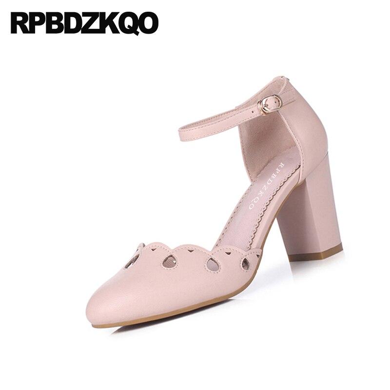 Talons Véritable Rose blanc Sandales Lolita 3 Pompes Haute Boucle Mode Doux Pouces Chaussures En Femmes Rond Rose Chunky Cheville Bout Blanc Mignon Cuir wqB8Yw1