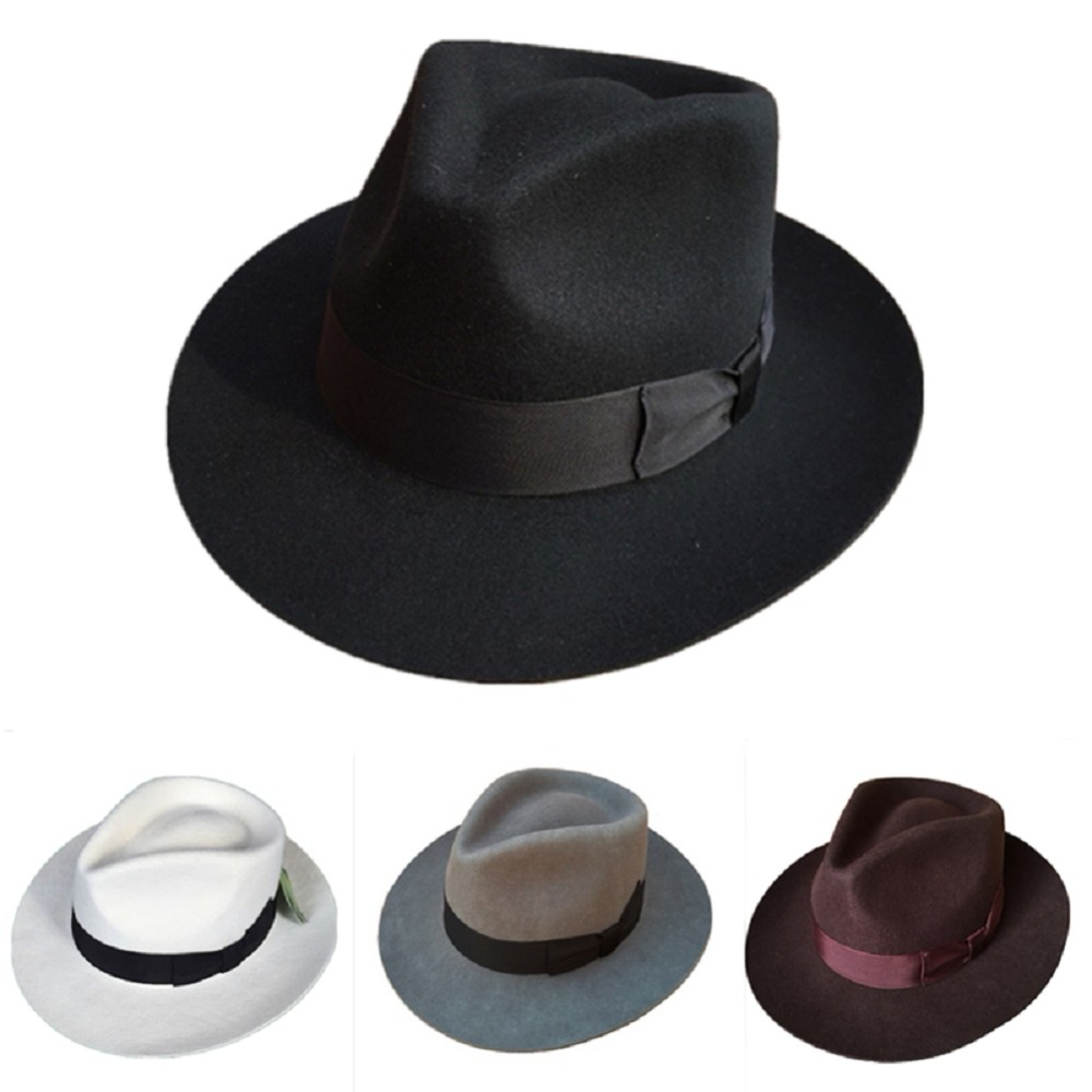 Classic Men's Wool Felt Godfather Fedora Hat - Gangster Mobster Michael Jackson Gentleman Hat  -MANY COLORS(China)