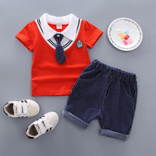 2019 Children's tie short-sleeved suit summer leisure boys summer wear 1 / 2 / 3 4-year-old baby T-shirt shorts 2 sets стоимость