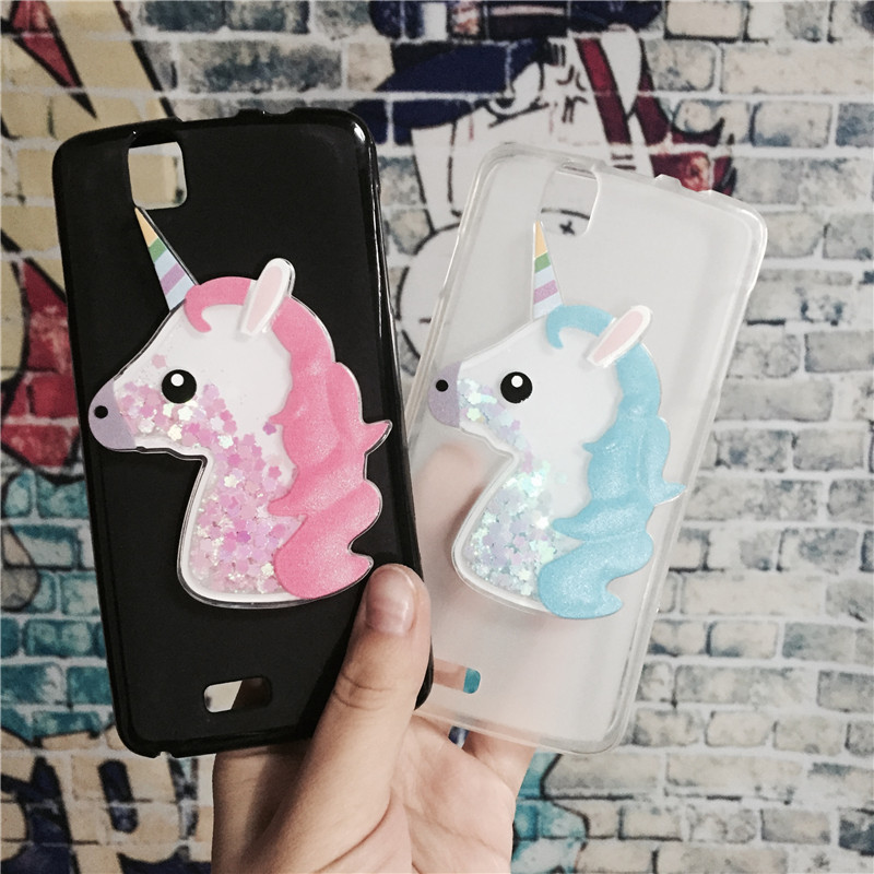 3D Unicorn Quicksand Liquid Soft Silicone Case for Fly IQ4503 ERA Life 6 Quad Phone Cover Cartoon Diamond Funda Coque Fashion