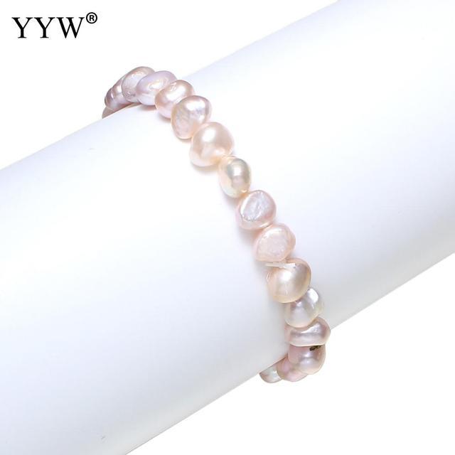 YYW 7-8mm White Baroque Pearl Beads Charm Bracelet for Women Freshwater Cultured Pearl Elastic Bracelet Wedding Bridal Jewelry