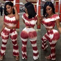 2016 summer tie dye print wine red S-XL women fashion 2 pieces sets sleeveless long wide leg pants sexy club party sets