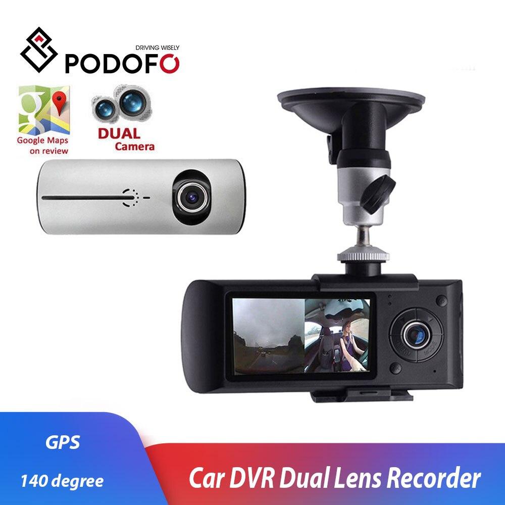 Podofo Car DVR Driving Recorde Dash-Cam Registrator G-Sensor Dual-Lens 140-Degree GPS
