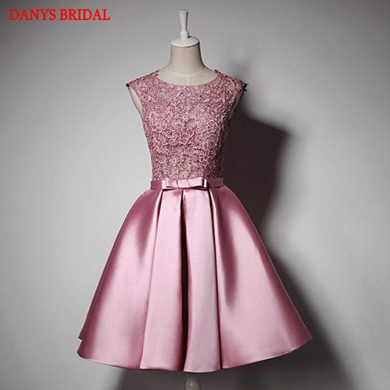 Sexy Beautiful Short Cocktail Dresses Womens Pink Lace Prom Coctail Dress for Party jurk vestidos de coctel renda