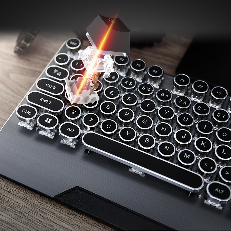 Retro Round Keycap Steampunk Typewriter USB Wired Mechnaical Gaming Keyboard Desktop Notebook Keyboard Double PCB Version