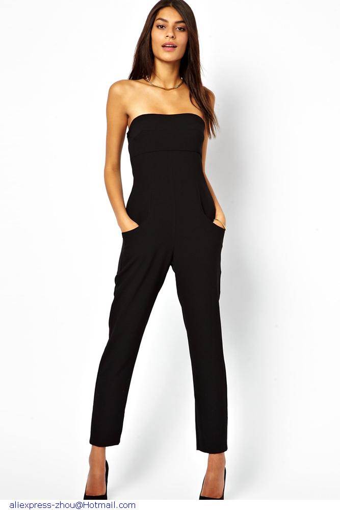 4fa1c771ed Black Long Playsuit Off The Shoulders Summer Vogue Tube Top Casual jumpsuit  For Women Rompers Overalls macacao Combinaison on Aliexpress.com
