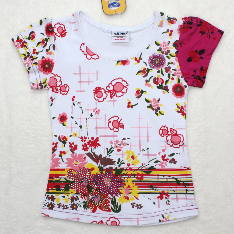 2013 lastest design baby girls t shirt chlidren print Girl t shirts design