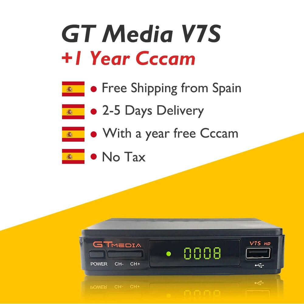 GTmedia V7S DVB S2 Receptor Satellite Decoder Free USB WiFi with 1 Year CCcam Clines Spain