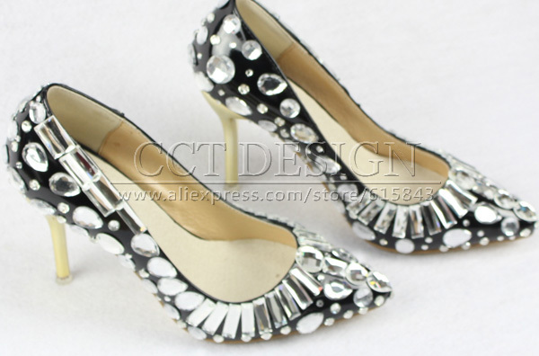 black leather pointed toe silver diamond and rhinestone 9cm low high heels sandals wedding bridal party prom evening shoes