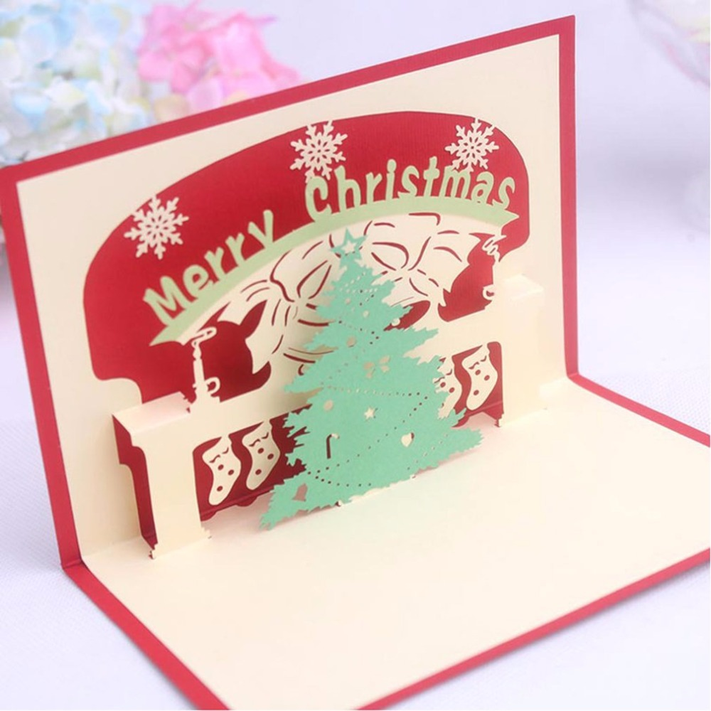 Hollow Carving 3d Pop Up Festival Greeting Cards Merry Christmas
