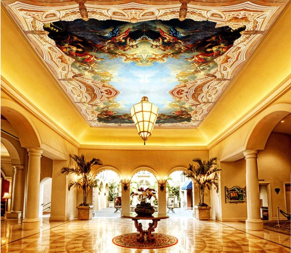 Custom photo 3d ceiling murals wall paper Classic oil paintings The sky people room decor 3d wall murals wallpaper for walls 3 d 3d wallpaper custom mural photo blue sky white sky hot air balloon lake decor painting 3d wall murals wall paper for walls 3 d