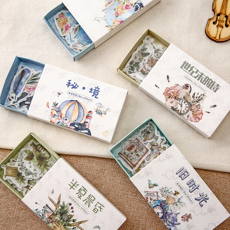 40 pcs/box Retro Time Series  Decorative Washi Stickers Scrapbooking Stick Label Diary Stationery Album Stickers