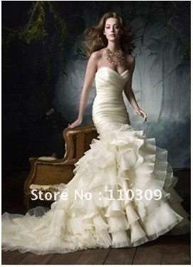 Free shipping wholesale/retail 100% Guarantee elegant organza Wedding Dresses bridal dress 2012 Custom size/colour