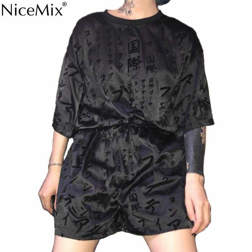 NiceMix Women New Fashion Print Black T Shirt Shorts Sets Elastic Waist 2 Two Pieces Sets Suit Summer Harajuku Female
