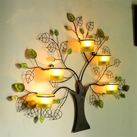 Creative Handmade Iron Art Tree Shape Candle Holder Decorative Wall Mounted Glass Wind Lamp Craftworks Embellishment Accessories