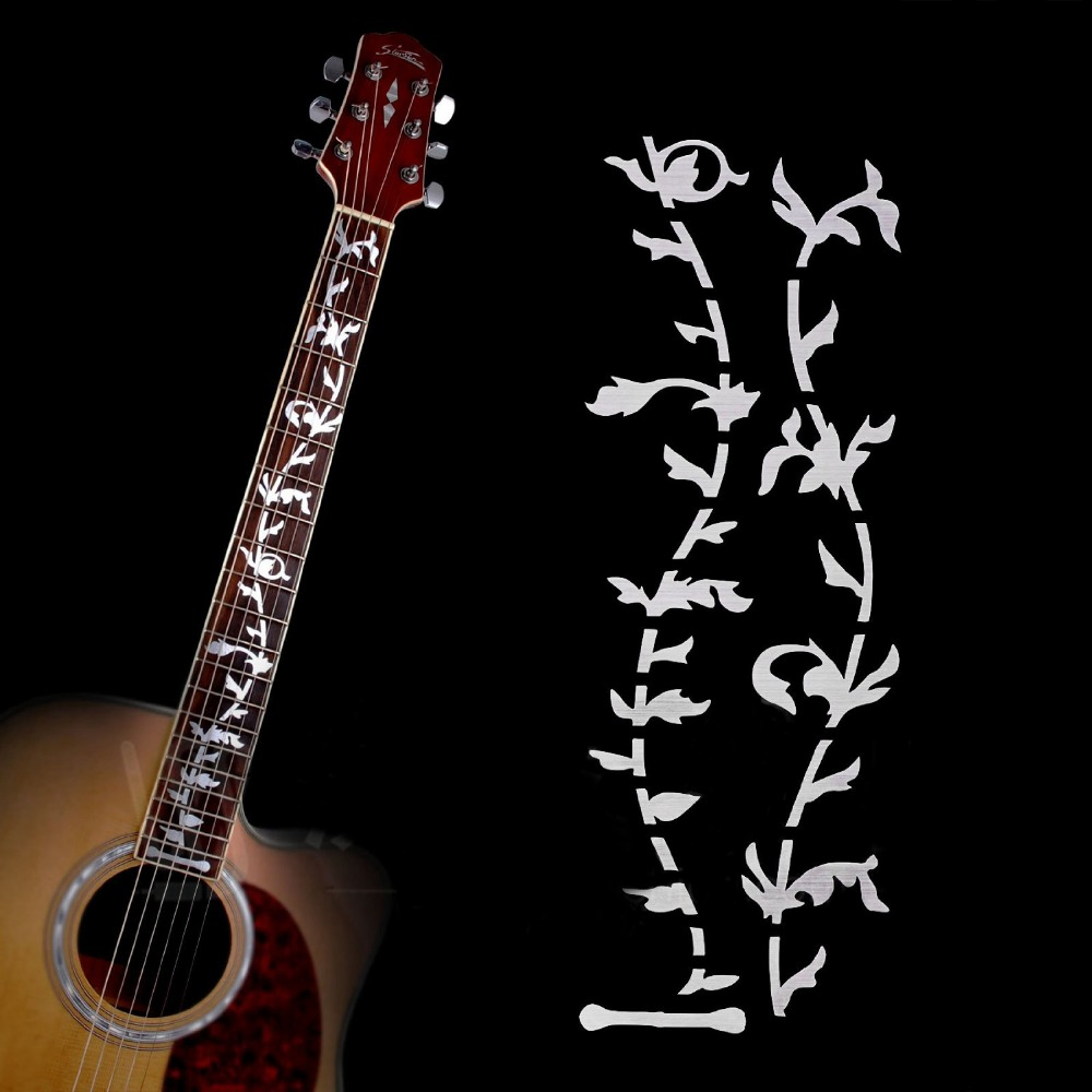 Guitar Neck Fret board Fret DIY Decoration Sticker for Electric Acoustic Guitar Tree of Life Sticker Silver White Pearl Sticker