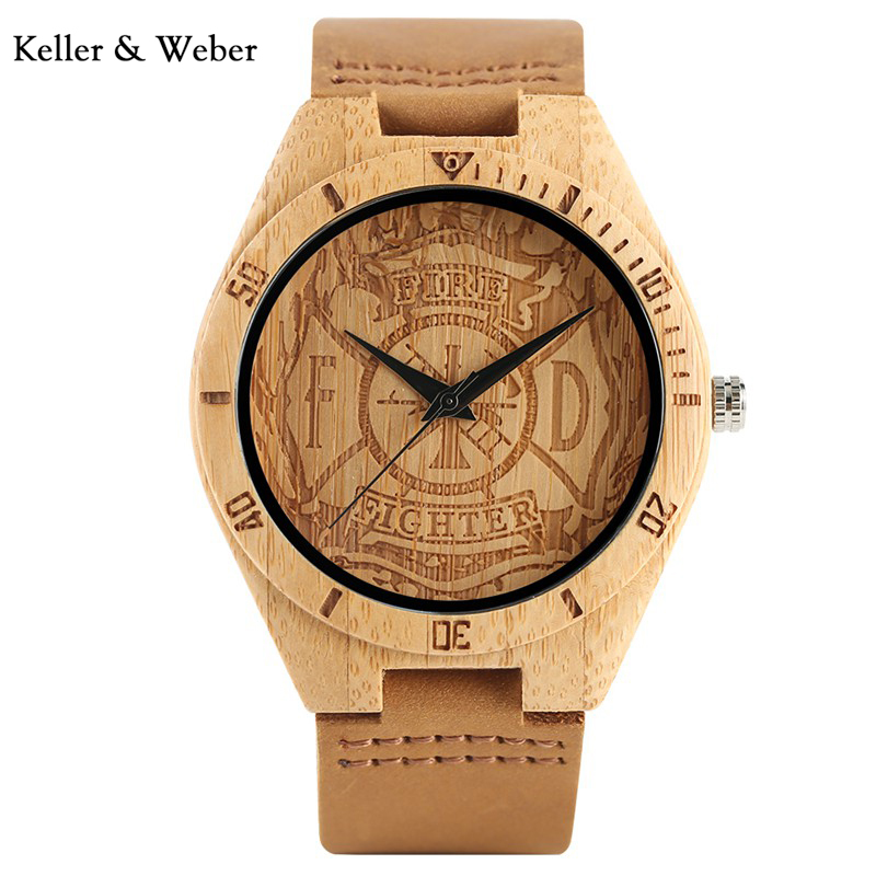 KW Fire Fighter Dial Bamboo Men Watch Gift Natural Fashion Hot Trendy Wrist Watch Modern Genuine Leather Strap Handmade Clock панель декоративная awenta pet100 д вентилятора kw сатин