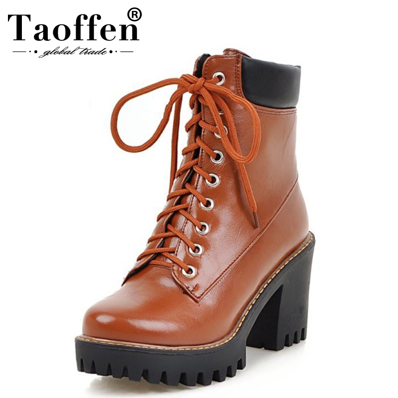 TAOFFEN Size 33 43 Women Thick Fur Boots Half Short High Heel Boots Lace Up Winter Boots Women Mid Calf Botas Women Footwears
