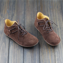 Handmade Genuine Leather Ankle Boots Woman Shoes Round Toe Lace up Women's Boots Female Spring Autumn Footwear (108)