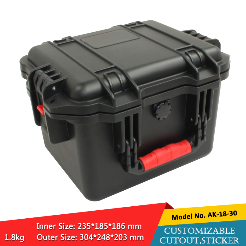 waterproof plastic hard tool carrying case pp and abs weatherproof equipment tool case with Sponge inside 304X248X203MM szomk