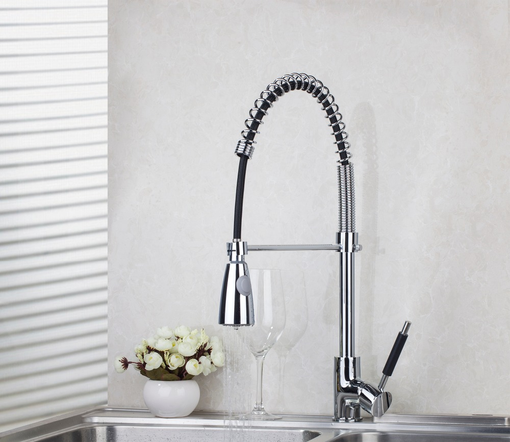 Torayvino 540mm Chrome 8538A-1/1 With Push Button  Kitchen Pull Out Down Brass Swivel Vessel Sink Mixer Tap Kitchen Faucet good quality wholesale and retail chrome finished pull out spring kitchen faucet swivel spout vessel sink mixer tap lk 9907