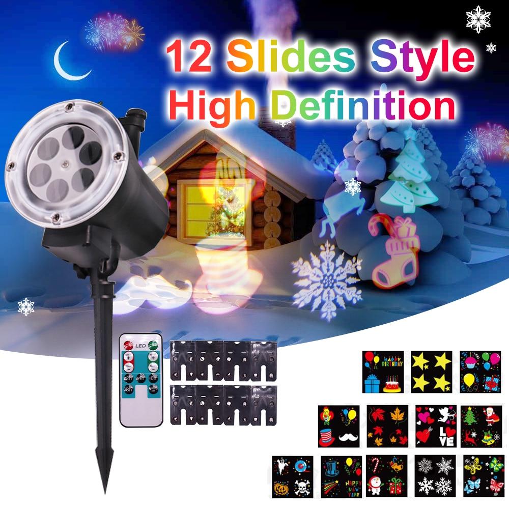 Ad alta Definizione Di Natale/Halloween Laser Proiettore 12 Modelli di Fiocco di Neve Laser Doccia Luci Di Natale All'aperto Star Proiettore