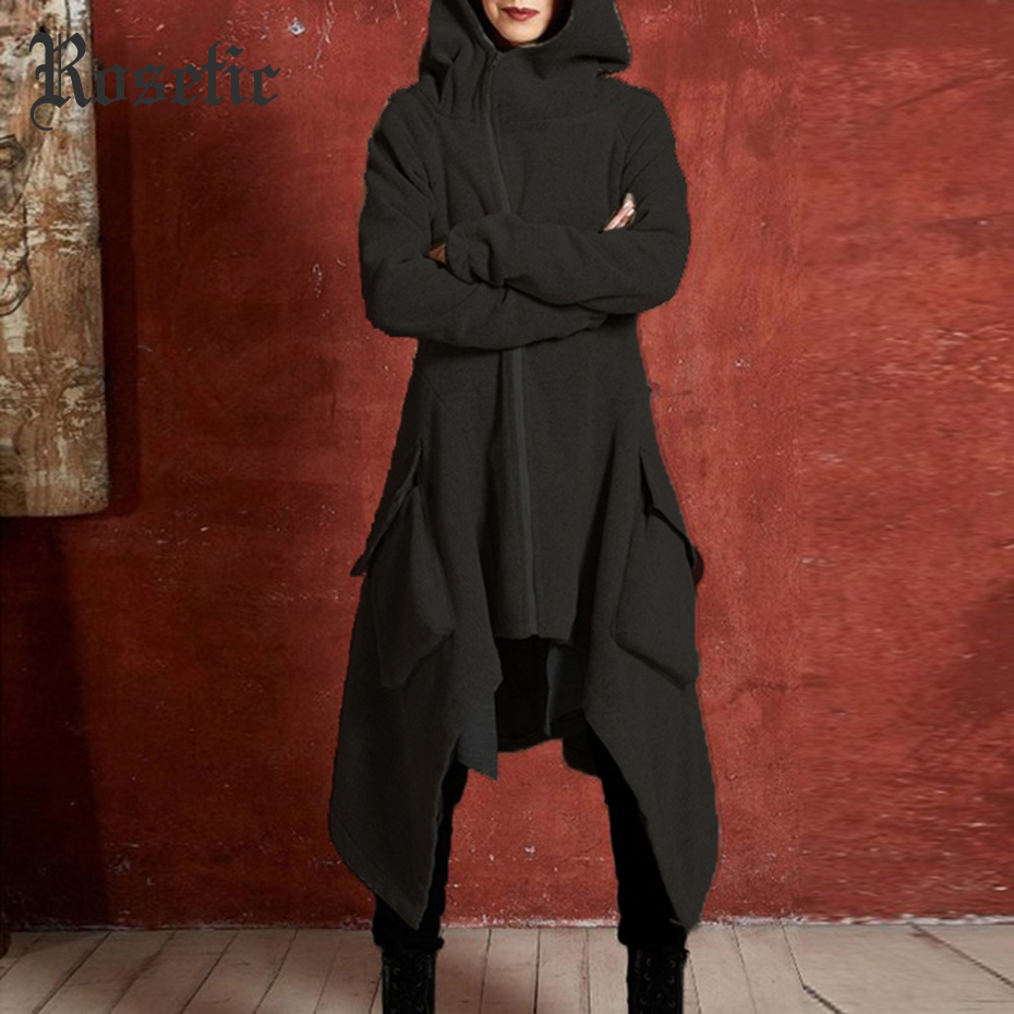 Rosetic Trench Coat Women Plus Size Winter Thicken Fleece Warm Goth Asymmetric Long Overcoat Gray Hooded Street Casual Outerwear