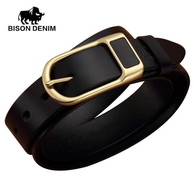 BISON DENIM cinturones de diseño hombres Cinturones de alta calidad para hombre de Lujo Correa de Cuero Genuina Piel de Vaca, blets para hombres N71011