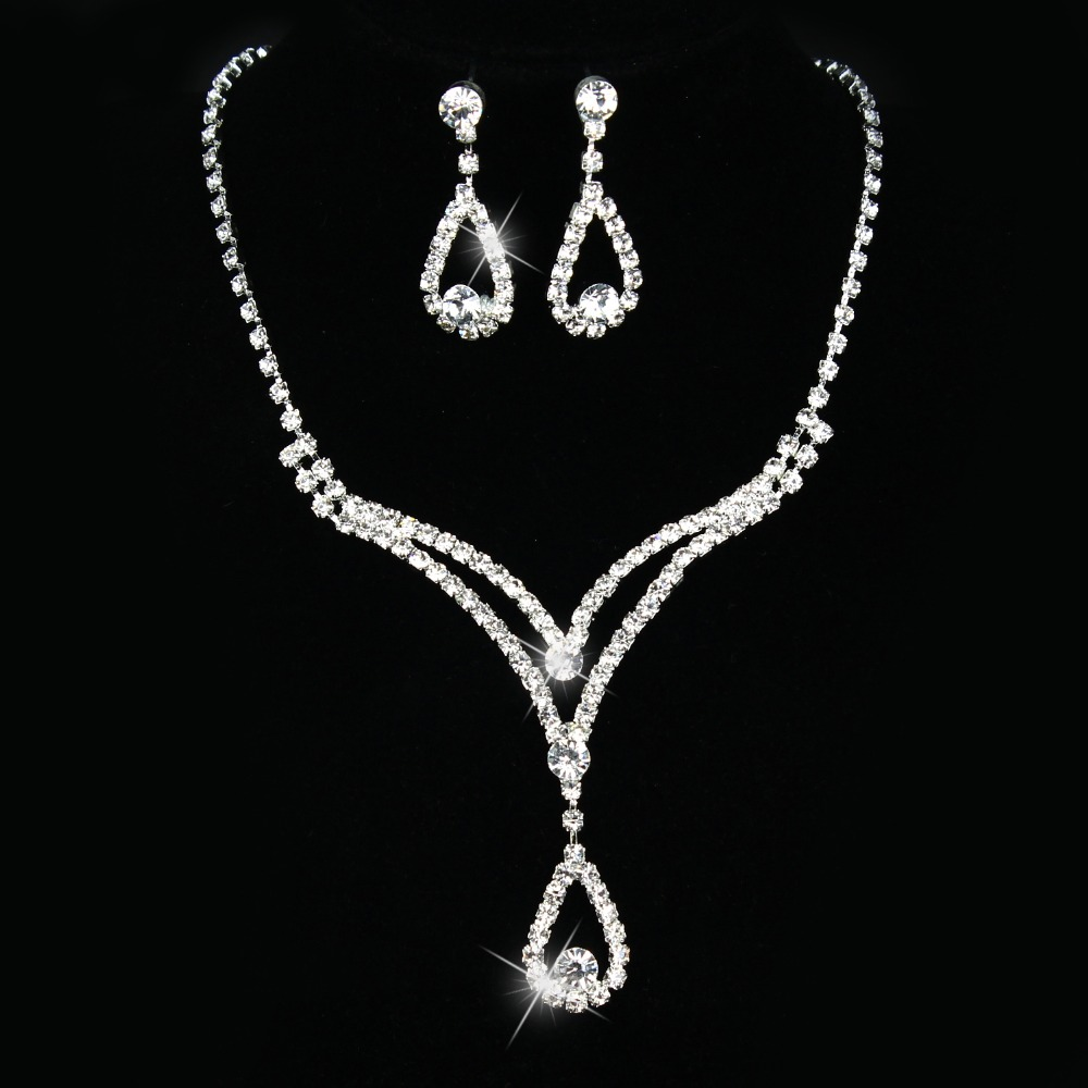 Prom Wedding Party Jewellery Diamante Crystal Drop Necklace Earrings Sets