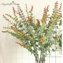 75cm 5branches Eucalyptus INS artificial flower plants money leaf decor for home wedding table flower plants wall Christmas tree