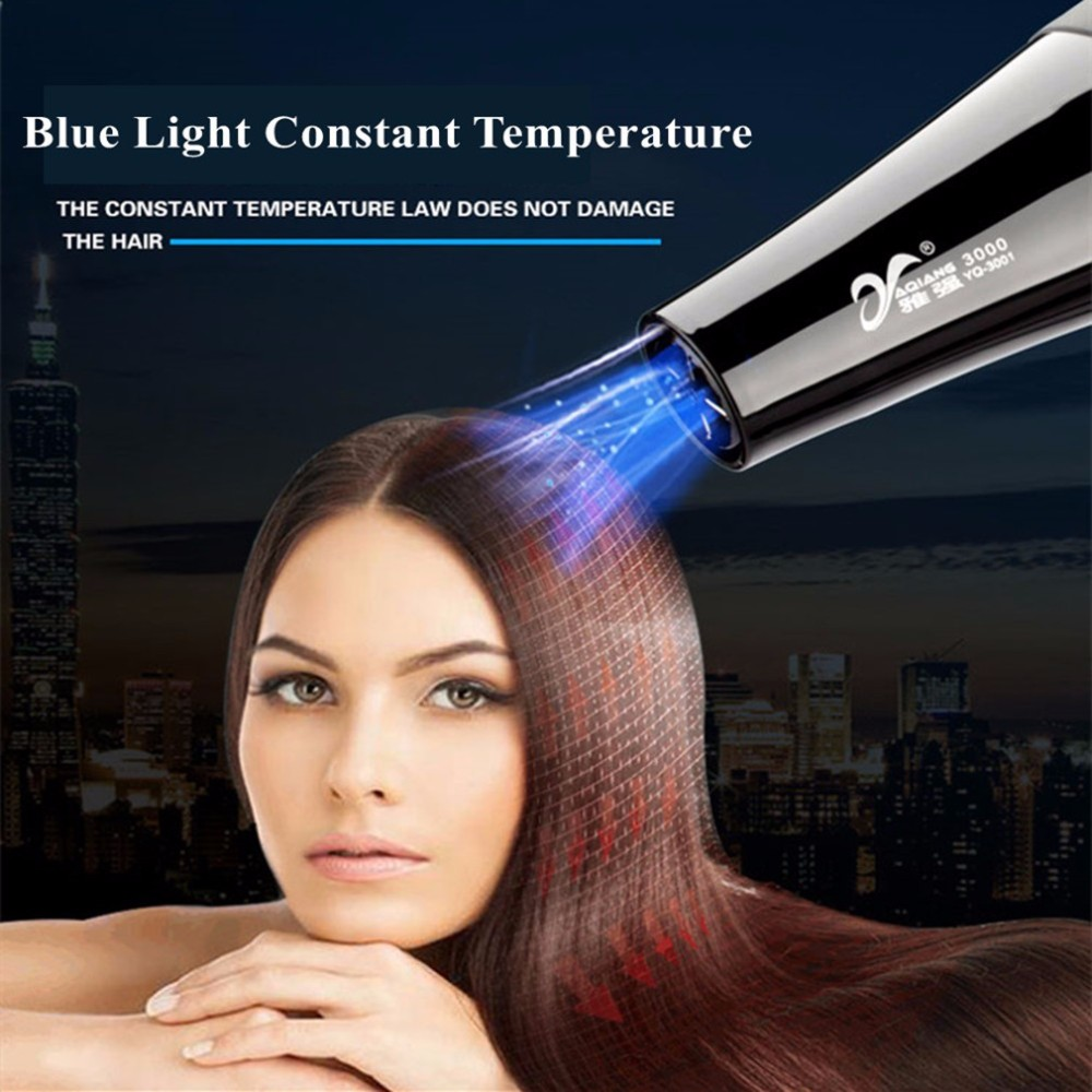 YAQIANG Pro 3000W 110/220V Hair Dryer Blue Light Anion Ceramic Ionic Fast Styling Blow Dryer AC Motor Salon&Home Use Hair Drier