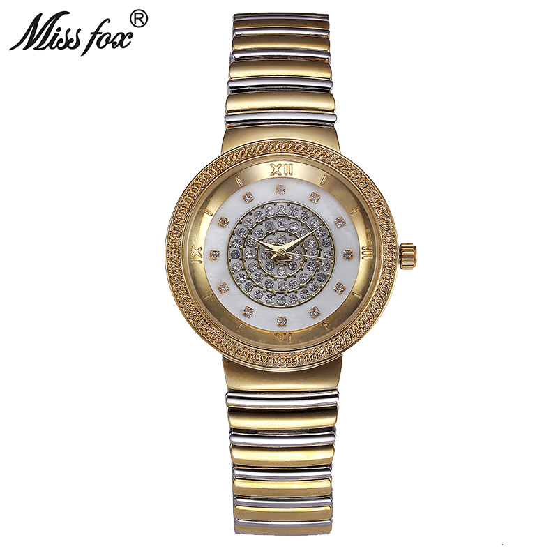 Miss Fox Women Gold Watch Fashion Brand Rhinestone Japan Movement Small Metal Watch Bracelets Carnaval Imported-China Kol Saati недорго, оригинальная цена