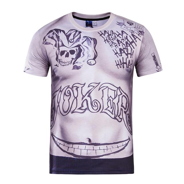 Hot Joker Tatuaje Película Comando Suicida de Impresión 3D de La Camiseta Sexy Homme Unisex T-shirt de Manga Corta Ocasional Floja Cabrito Adolescente Tops