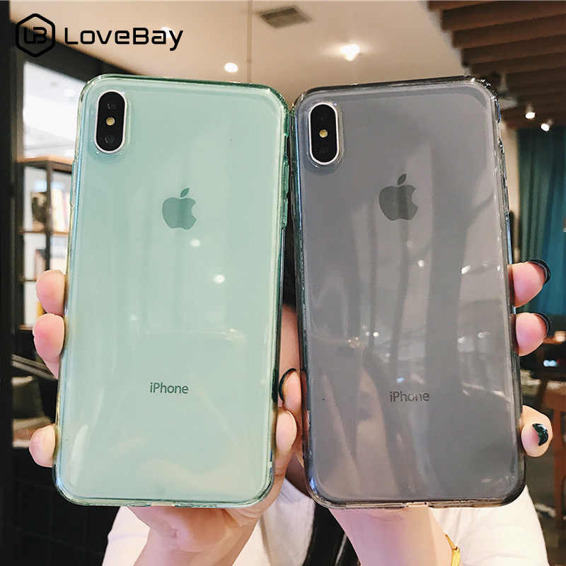 Lovebay For iPhone 7 Phone Case Clear Solid Candy Color For iPhone 11 Pro XS Max 6 6s 7 8 Plus X XR Soft TPU Silicone Back Cover