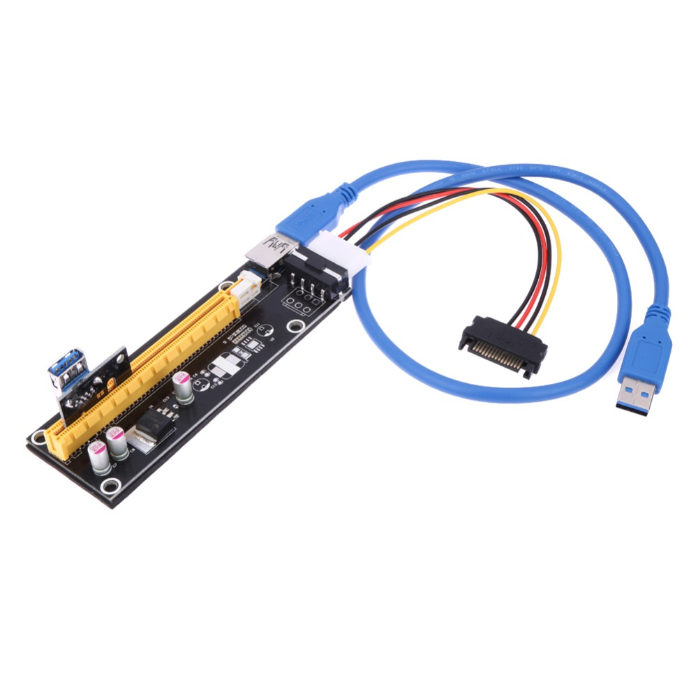 Usb 30 Pci E Express 1x To 16x Extender Riser Card Adapter Sata 4 Solid Capacitor 15 Pin Power Cable With 60cm For Bitcoin Ming