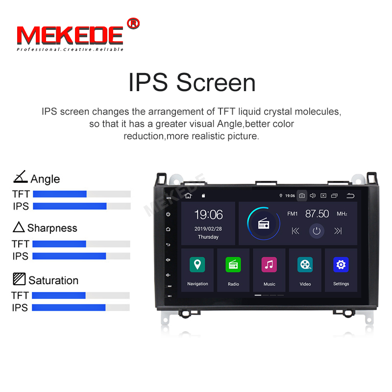 IPS DSP Android 9.0 2G 4 Core Car GPS for Benz Sprinter B200 W209 W169 W169 W245 B170 Vito W639 DVD PLAYER stereo radio audio