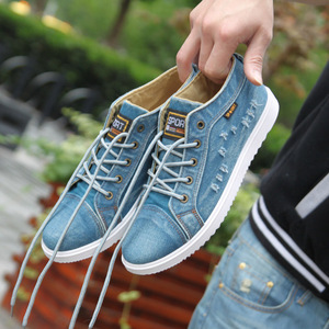 Image 5 - Fashion Denim Man Canvas Shoes Men Shoes Casual High Top Sneakers 2019 Summer Breathable Plimsolls Male Footwear Mens Flats