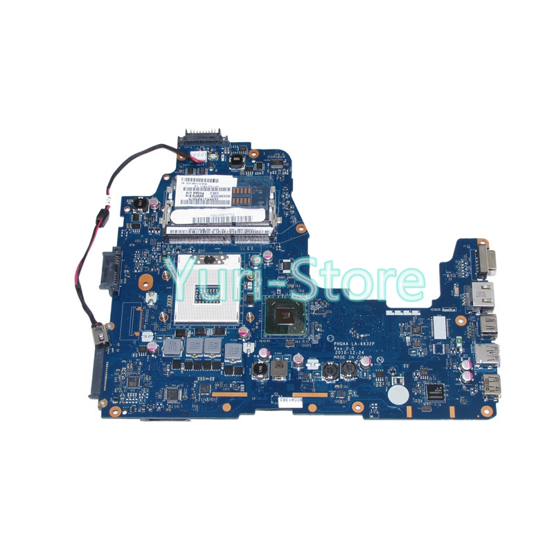 NOKOTION laptop motherboard for toshiba satellite A660 A665 PHQAA LA-6832P REV 2.0 MB K000125610 HM65 DDR3 k000055760 laptop motherboard for toshiba satellite a200 a205 iskaa la 3481p rev 2a intel gl960 ddr2 without graphcis slot